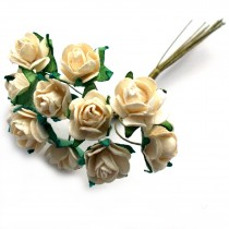 Bunch of 12 Paper Tea Roses 20mm Flower Off White