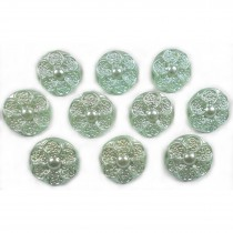 Pastel Ornate Pearl Flower Plastic Buttons 12mm Green Pack of 10