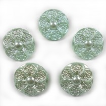 Pastel Ornate Pearl Flower Plastic Buttons 12mm Green Pack of 5