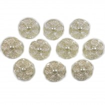 Pastel Ornate Pearl Flower Plastic Buttons 12mm Ivory Pack of 10