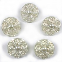 Pastel Ornate Pearl Flower Plastic Buttons 12mm Ivory Pack of 5