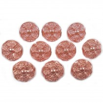 Pastel Ornate Pearl Flower Plastic Buttons 12mm Peach Pack of 10