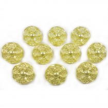 Pastel Ornate Pearl Flower Plastic Buttons 12mm Yellow Pack of 10
