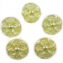 Pastel Ornate Pearl Flower Plastic Buttons 12mm Yellow Pack of 5