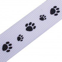 Paw Print Cat Dog Puppy Grosgrain Ribbon 16mm Wide Black on White 3 metre length