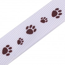Paw Print Cat Dog Puppy Grosgrain Ribbon 16mm Wide Brown on White 3 metre length