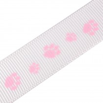 Paw Print Cat Dog Puppy Grosgrain Ribbon 16mm Wide Pink on White 3 metre length