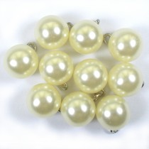 Pearl Effect Ball Bauble Button with Metal Shank 14mm Ivory Pack of 10