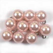 Pearl Effect Ball Bauble Button with Metal Shank 14mm Pale Pink Pack of 10