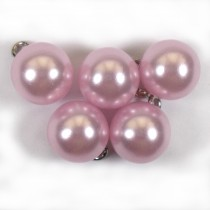 Pearl Effect Ball Bauble Button with Metal Shank 14mm Pink Pack of 5