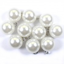 Pearl Effect Ball Bauble Button with Metal Shank 14mm White Pack of 10