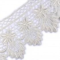 Pearl Drop Flower Lurex Guipure Lace 5.5cm wide Ivory 1 metre length