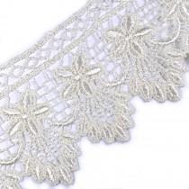Pearl Drop Flower Lurex Guipure Lace 5.5cm wide Ivory 3 metre length