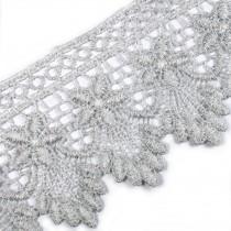 Pearl Drop Flower Lurex Guipure Lace 5.5cm wide Silver 1 metre length