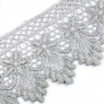 Pearl Drop Flower Lurex Guipure Lace 5.5cm wide Silver 3 metre length