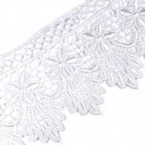 Pearl Drop Flower Lurex Guipure Lace 5.5cm wide White 1 metre length