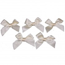 Satin Ribbon Bows approx 5.5cm wide Cream Pack of 5