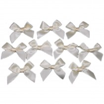 Satin Ribbon Bows approx 5.5cm wide Cream Pack of 10