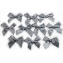 Satin Ribbon Bows approx 5.5cm wide Grey Pack of 10