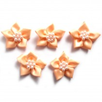 Poinsettia Flower Satin Ribbon Bows with Pearl Effect Bead Circle 3.5cm wide Peach Pack of 5