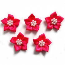 Poinsettia Flower Satin Ribbon Bows with Pearl Effect Bead Circle 3.5cm wide Pink Pack of 5