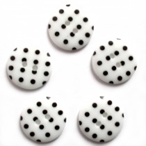 Round Plastic Polka Dot Spot 2 Hole Buttons 23mm White with Black Pack of 5