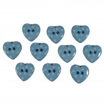 Polka Dot Heart Small Buttons 15mm Blue Pack of 10