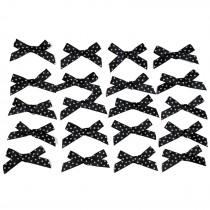 Satin Polka Dot Spot Ribbon Bows 4cm Black Pack of 20