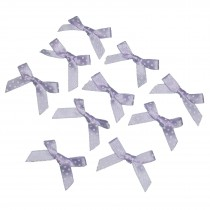 Satin Polka Dot Spot Ribbon Bows 4cm Lilac Pack of 10
