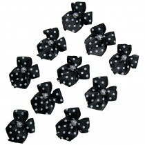 Satin Polka Dot Spot Ribbon Bows with Plastic Pearl Detail 2cm wide Black Pack of 10