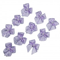 Satin Polka Dot Spot Ribbon Bows with Plastic Pearl Detail 2cm wide Lilac Pack of 10