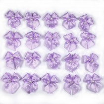 Satin Polka Dot Spot Ribbon Bows with Plastic Pearl Detail 2cm wide Lilac Pack of 20
