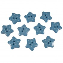 Polka Dot Star Small Buttons 17mm Blue Pack of 10