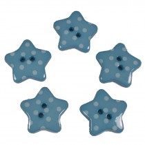 Polka Dot Star Small Buttons 17mm Blue Pack of 5