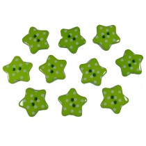 Polka Dot Star Small Buttons 17mm Green Pack of 10