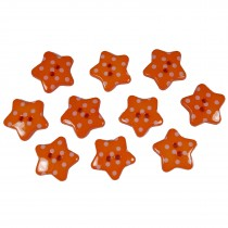 Polka Dot Star Small Buttons 17mm Orange Pack of 10
