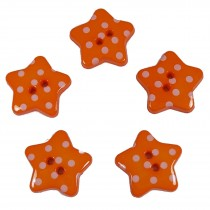 Polka Dot Star Small Buttons 17mm Orange Pack of 5