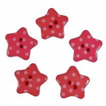 Polka Dot Star Small Buttons 17mm Pink Pack of 5