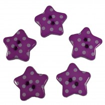 Polka Dot Star Small Buttons 17mm Purple Pack of 5