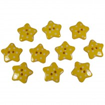 Polka Dot Star Small Buttons 17mm Yellow Pack of 10