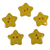 Polka Dot Star Small Buttons 17mm Yellow Pack of 5