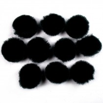 Pom Poms 2.5cm wide Black Pack of 10