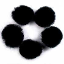Pom Poms 4cm wide Black Pack of 5