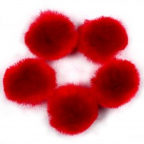 Pom Poms 2.5cm wide Red Pack of 5