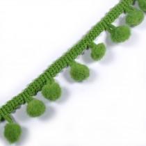 Pom Pom Bobble Trim Fringe 12mm wide Apple Green 1 metre length
