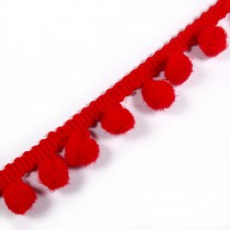 Pom Pom Bobble Trim Fringe 12mm wide Red 1 metre length