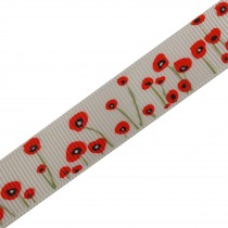 Poppy Flower Grosgrain Ribbon 22mm wide Cream 2 metre length