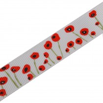 Poppy Flower Grosgrain Ribbon 16mm wide White 2 metre length