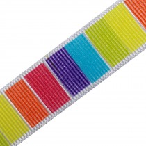 Berisfords Bright Rainbow Grosgrain Ribbon 25mm wide Block Stripes 2 metre length