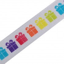 Berisfords Bright Rainbow Grosgrain Ribbon 25mm wide Parcel Gifts 1 metre length